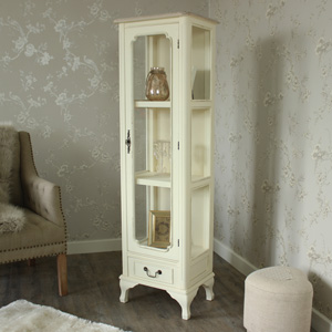 Provence Cream Range - Cream Glazed Display Cabinet With Drawer