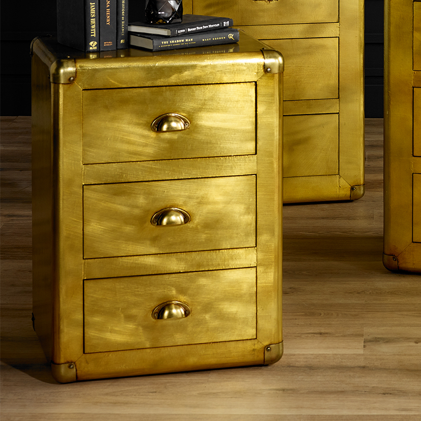 Quinton Range - Brass Three Drawer Bedside Table