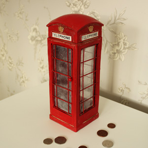 Red London Telephone Money Box