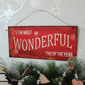 Red Metal Christmas Plaque