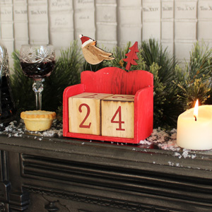 Red Wooden Christmas Bird Calendar