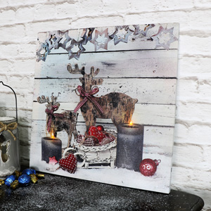 Reindeer Light Up Canvas