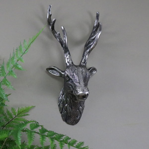Silver Metal Wall Mounted Stag's Head