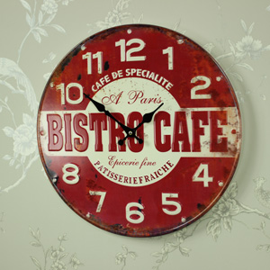 Retro Metal Bistro Cafe Wall Clock