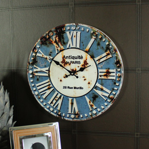Retro Metal Blue Wall Clock