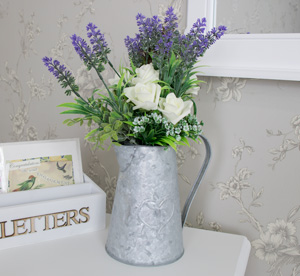 Rose and Lavender Artificial Flowers in Metal Jug