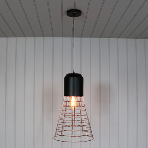 Black and Copper Wire Industrial Style Pendant Light