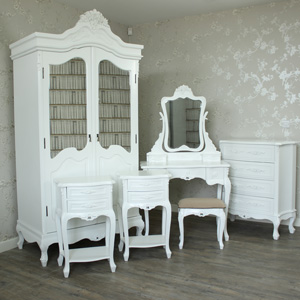 Bedroom Set, Dressing Table, Mirror & Stool Set, Chest of Drawers, Wardrobe and 2 Bedside Tables - Rose Range