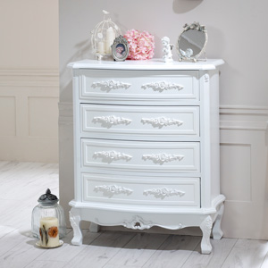 White 4 Drawer Chest - Rose Range