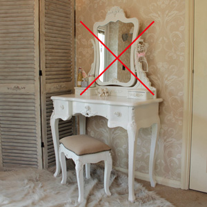 Rose Range - White Dressing Table and Mirror & Stool EX SHOWROOM ITEM (TABLE & STOOL ONLY)