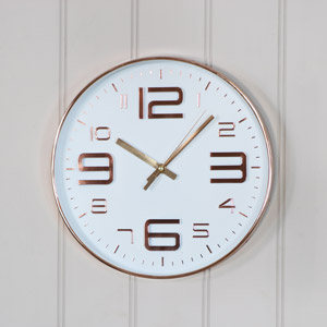 Round Copper Embossed White Wall Clock