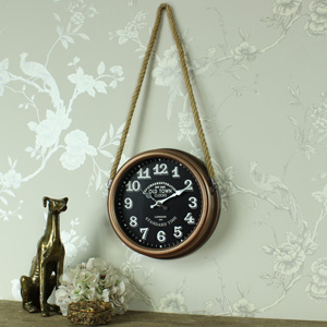 Round Copper Wall Clock on Rope Hanger
