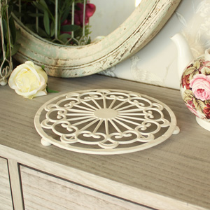 Round Cream Metal Kitchen Trivet
