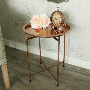 Round Metal Copper Folding Coffee Table/Butler's Tray
