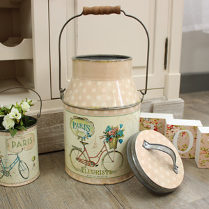 Round Metal Milk Churn Style Canister