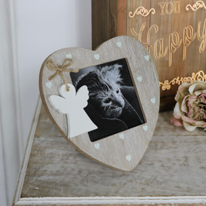 Rustic Angel Heart Freestanding Photograph Frame