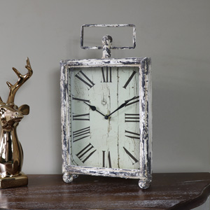 Rustic Antique Cream Vintage Mantel Clock