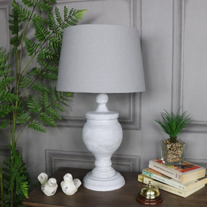 Rustic Antique White Table Lamp