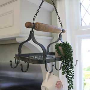 Rustic Black Metal Hanging Pan Rack