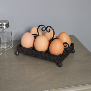 Rustic Brown Heart Cast Iron Egg Holder