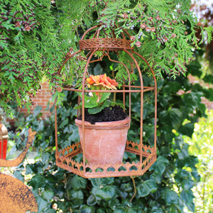 Rustic Brown Metal Hanging Birdcage Planter