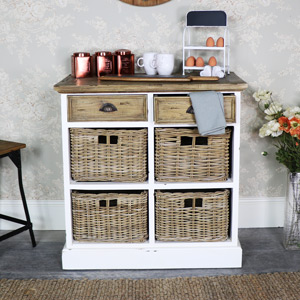 Rustic Cream Wicker 6 Drawer Basket Storage Unit