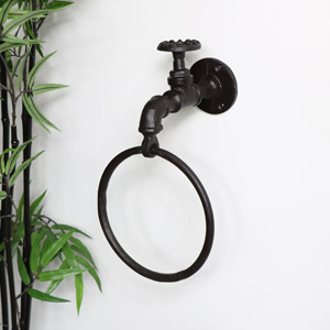 Rustic Industrial Tap Towel Holder