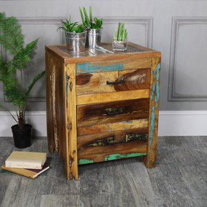 Rustic Reclained Wood 3 Drawer Bedside Chest