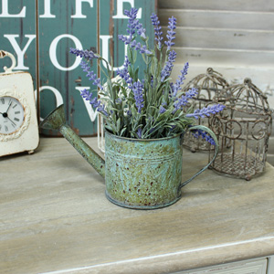 Rustic Sage Watering Can Planter with Artificial Lavender Plant
