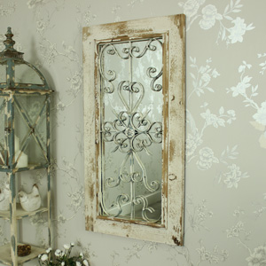 Rustic Wall Mirror with Ornate Front