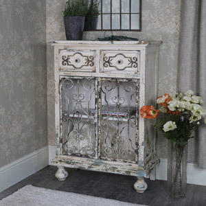 Rustic White Sideboard Storage Cabinet