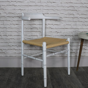 Rustic White Wooden Occasional Dining Chair