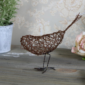 Rustic Wire Metal Bird Ornament