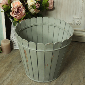 Rustic Wooden Green Waste Paper Bin