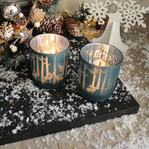 Set of 2 Blue Glass Reindeer Tealight Holders