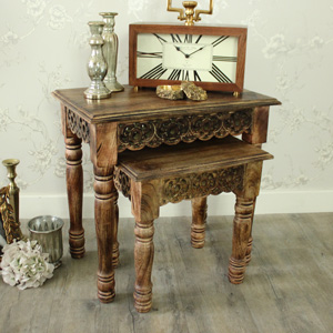 Set of 2 Wooden Carved Nested Tables