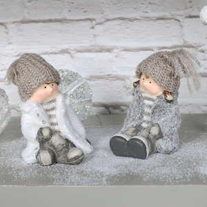 Set of 2 Christmas Children Ornaments