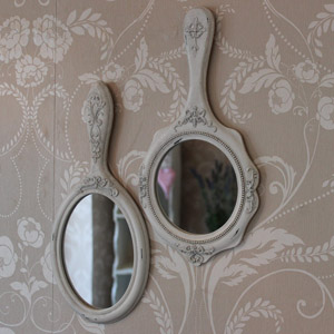 Set of 2 Cream Vanity Wall Mirrors