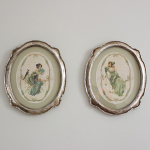 Set of 2 French Vintage Lady Paintings