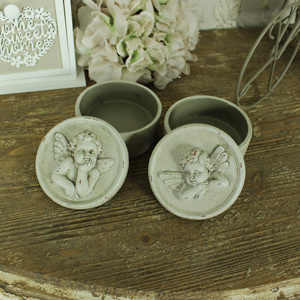 Set of 2 Grey Cherub Trinket Boxes