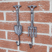 Set of 2 Grey Distressed Spade and Fork Hooks