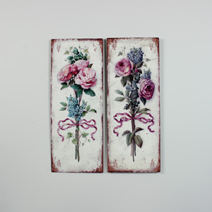 Set of 2 Metal Vintage Pink Rose Wall Plaques
