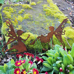 Set of 2 Rustic Metal Fairy Garden Picks