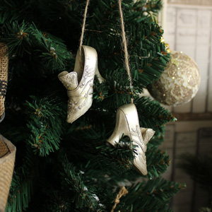 Set of 2 Silver Vintage Shoes Tree Decoration