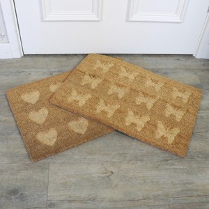 Set of 2 Traditional Coir Heart & Butterfly Door Mats