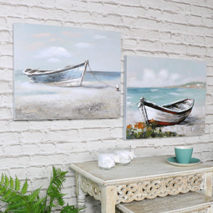 Set of 2 Vintage Styled Boat Canvas Wall Prints