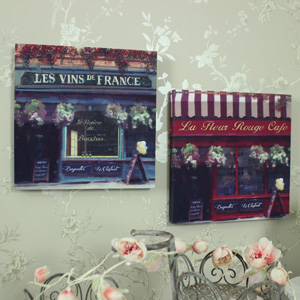 Set of 2 Vintage French Cafe Canvas Prints