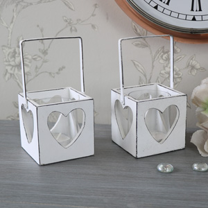 Set of 2 Vintage White Heart Hanging Tealight Candle Holders