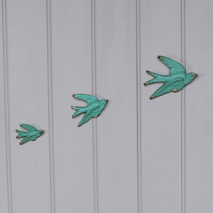 Set of 3 Blue Flying Birds Wall Art Decoration