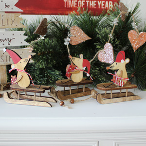 Set of 3 Christmas Mice on Sleighs